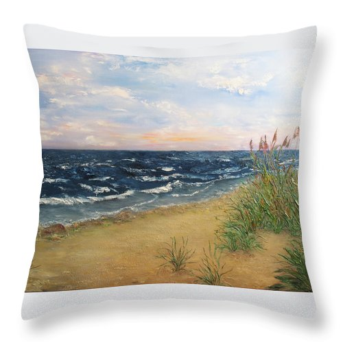 Baltic Throw Pillow featuring the painting Baltic Coast by Svetlana Artemova