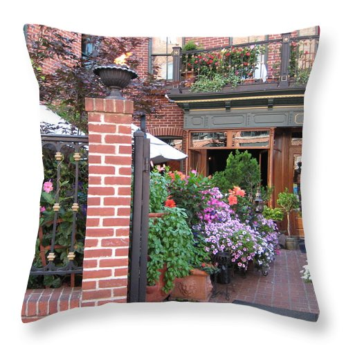 Courtyard Throw Pillow featuring the photograph Baltimore Cafe     By Jean Carton by Jerrold Carton