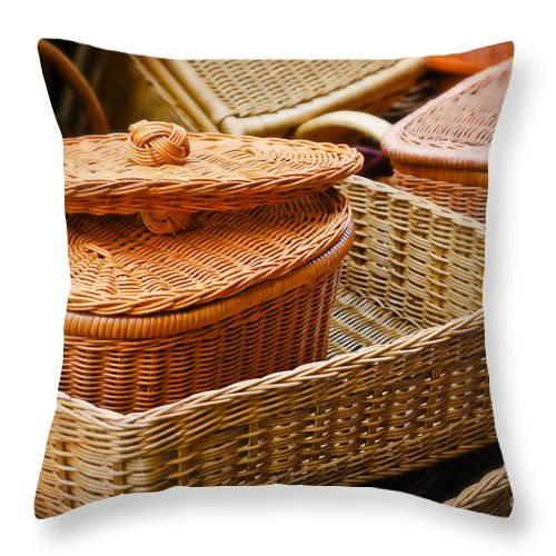 Bamboo Throw Pillow featuring the photograph Bamboo Baskets by Charuhas Images