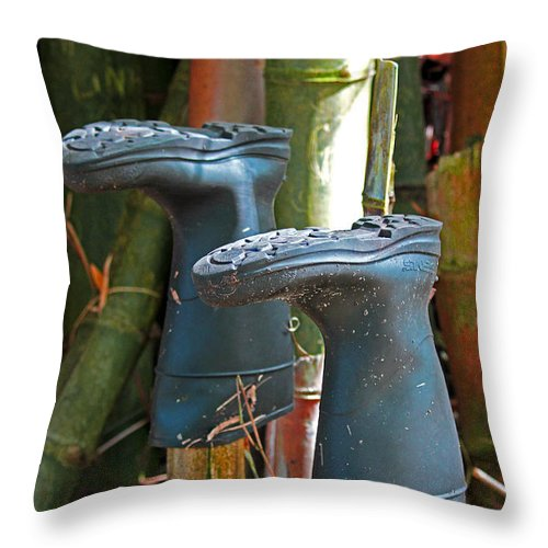 Blac Boots Throw Pillow featuring the photograph Bamboo Boots by Jennifer Robin