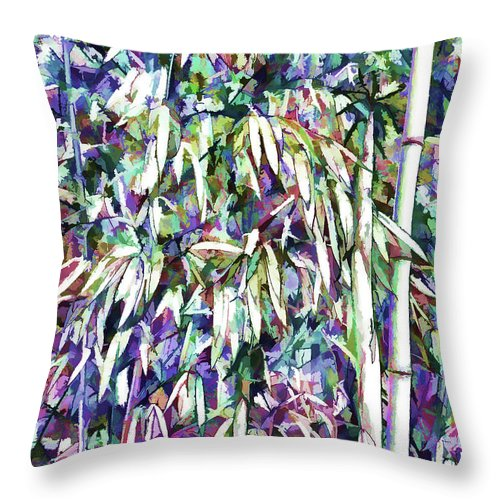 Bamboo Forest Background Throw Pillow featuring the painting Bamboo Forest Background by Jeelan Clark