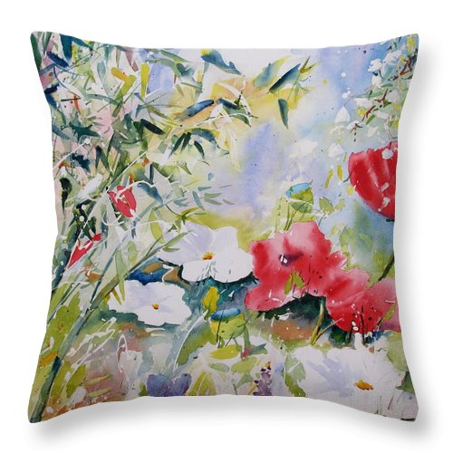 Landscape Throw Pillow featuring the painting Bamboo Forest by John Nussbaum