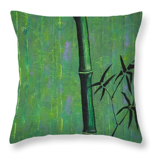 Bamboo Throw Pillow featuring the painting Bamboo by Jacqueline Athmann