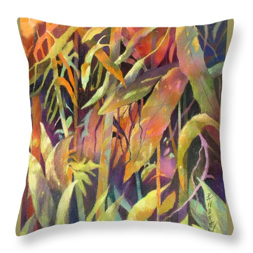 Abstract Throw Pillow featuring the painting Bamboo Patterns by Rae Andrews