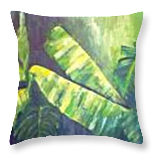 Banana Leaf Throw Pillow featuring the painting Banan Leaf by Carol P Kingsley