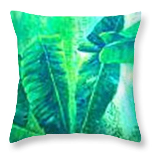 Throw Pillow featuring the painting Banan Leaves 5 by Carol P Kingsley