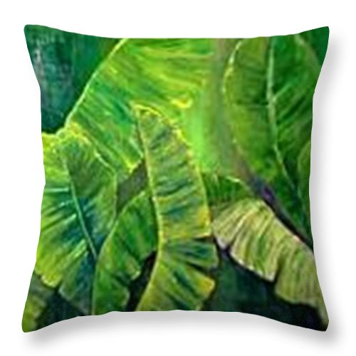 Throw Pillow featuring the painting Banana Leaves by Carol P Kingsley