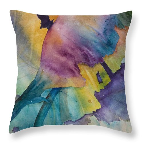 Banana Throw Pillow featuring the painting Banana Leaves Of Color by Renee Chastant