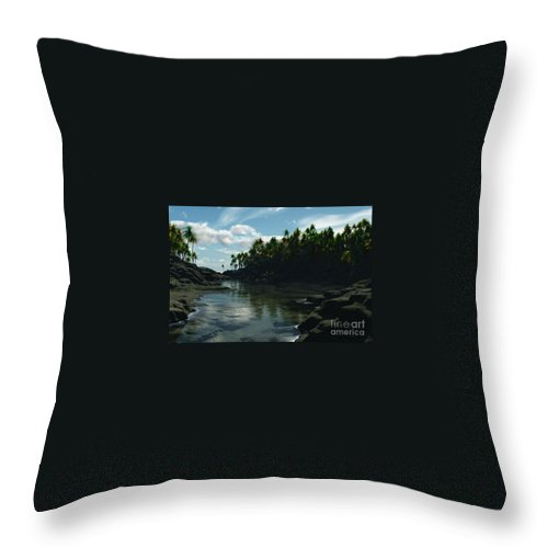 Rivers Throw Pillow featuring the digital art Banana River by Richard Rizzo