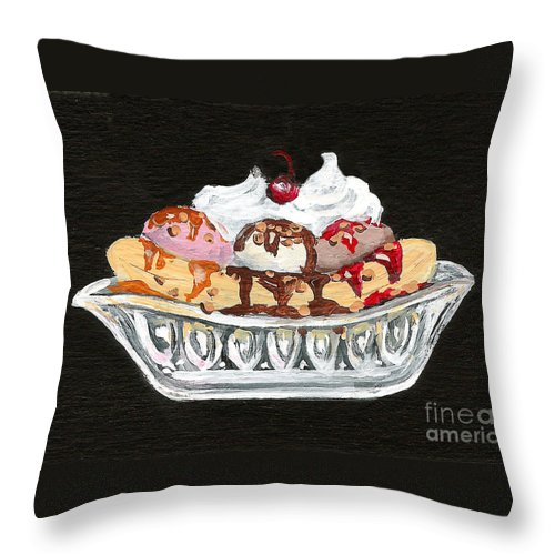 Ice Cream Throw Pillow featuring the painting Banana Split by Elaine Hodges
