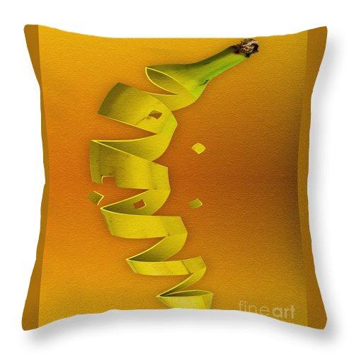 Kitchen Art Throw Pillow featuring the digital art Banana by Tim Hightower