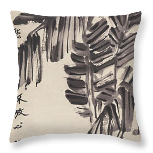 Lotus Plum Peony Flower Throw Pillow featuring the painting Banana by Zhang Daqian