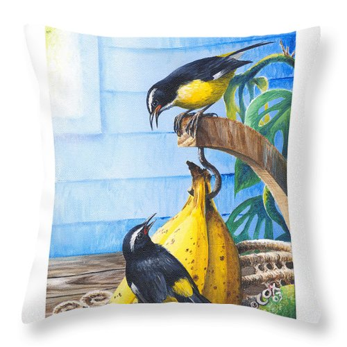 Chris Cox Throw Pillow featuring the painting Bananaquits And Bananas by Christopher Cox
