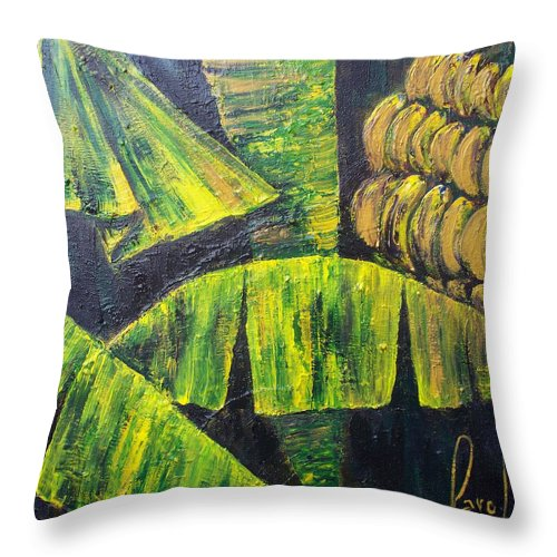 Nature In The Tropics Throw Pillow featuring the painting Bananas by Carol P Kingsley