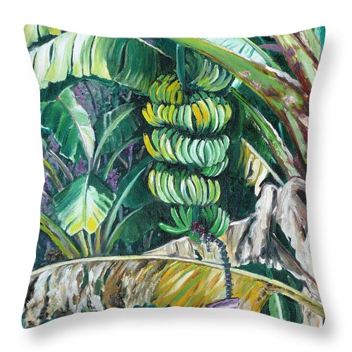 Caribbean Painting Bananas Trees P Painting Fruit Painting Tropical Painting Throw Pillow featuring the painting Bananas by Karin Dawn Kelshall- Best