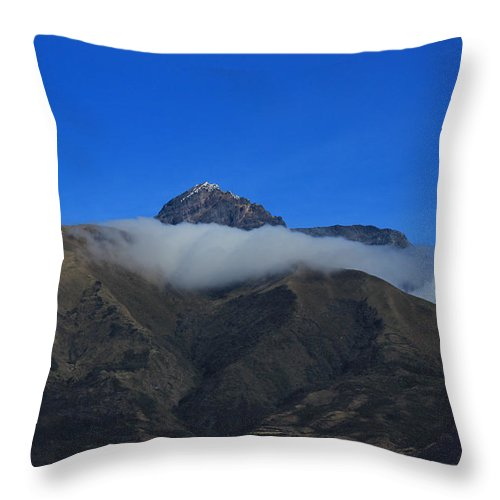Mount Cotacachi Throw Pillow featuring the photograph Band Of Cloud On Mount Cotacachi by Robert Hamm
