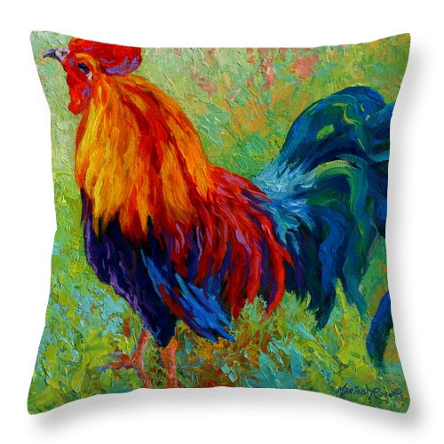 Rooster Throw Pillow featuring the painting Band Of Gold by Marion Rose