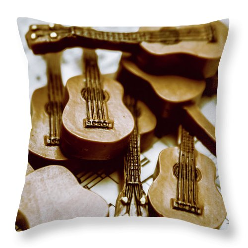 Music Throw Pillow featuring the photograph Band Of Live Acoustic Guitars by Jorgo Photography - Wall Art Gallery