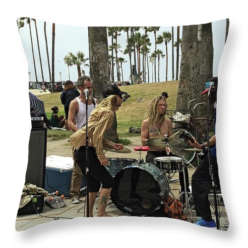 People Throw Pillow featuring the photograph Band Playing 2 by Karl Rose