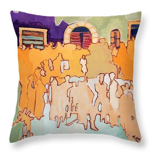 Band Throw Pillow featuring the painting Banda Di Villaggio by Kurt Hausmann