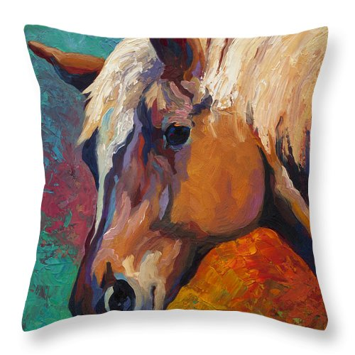 Horses Throw Pillow featuring the painting Bandit by Marion Rose