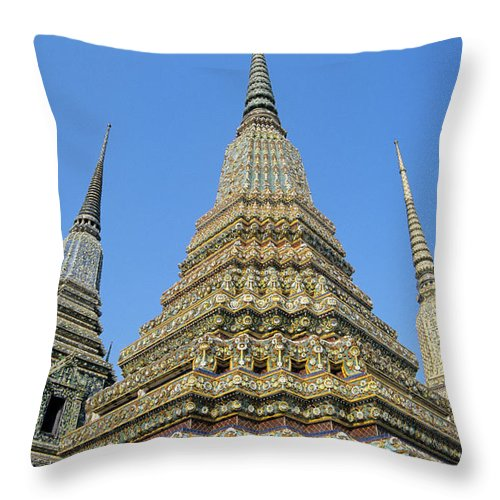 Architectural Throw Pillow featuring the photograph Bangkok, Wat Po by Gloria & Richard Maschmeyer - Printscapes