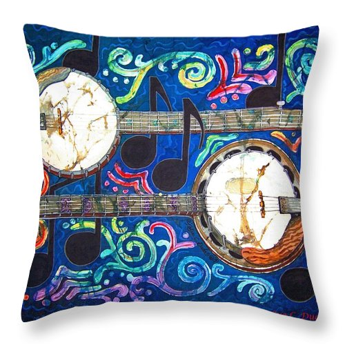 Banjo Throw Pillow featuring the painting Banjos - Bordered by Sue Duda