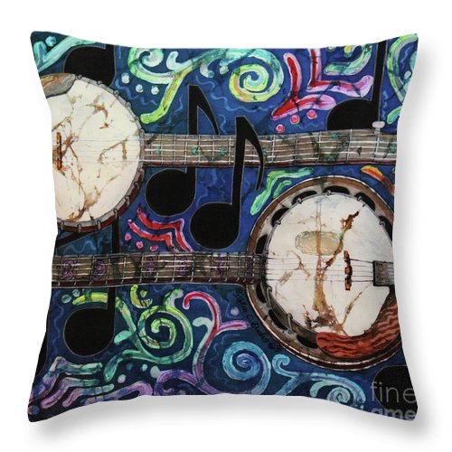 Banjos Throw Pillow featuring the painting Banjos by Sue Duda