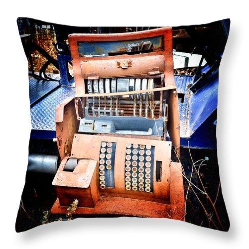 Cash Throw Pillow featuring the photograph Bank Job by Nicholas Uzunyan