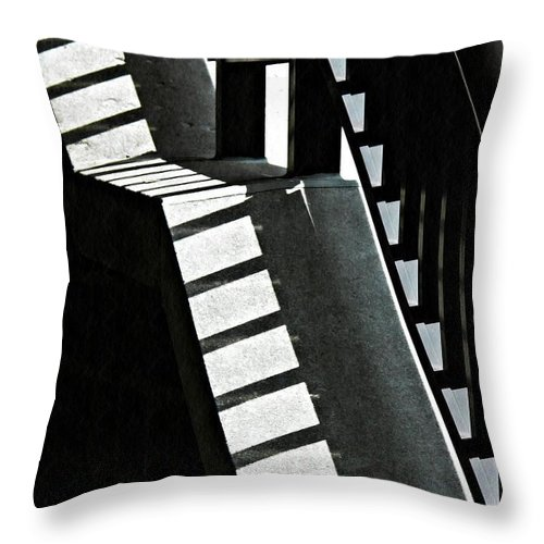 Bannister Throw Pillow featuring the photograph Bannister And Shadows by Sarah Loft