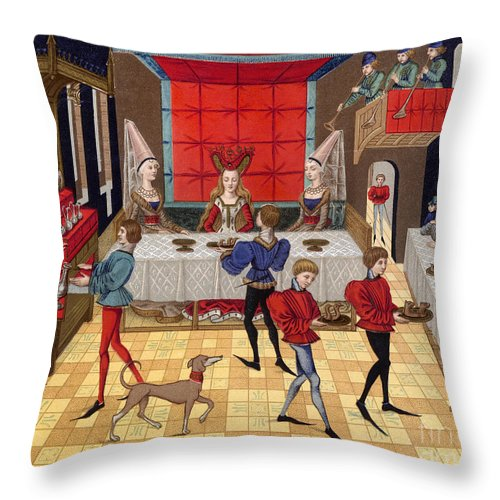 15th Century Throw Pillow featuring the photograph Banquet, 15th Century by Granger
