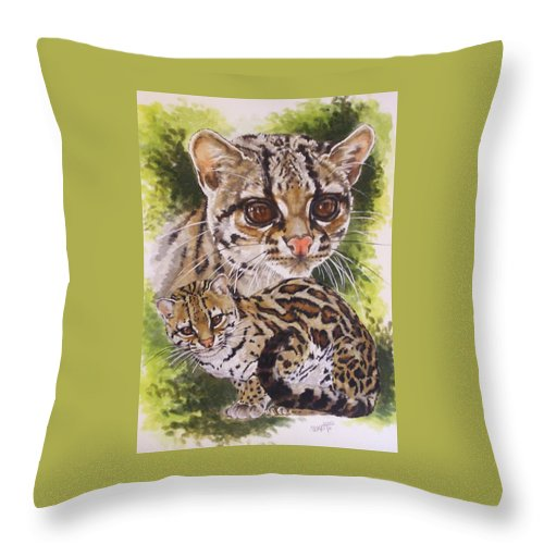 Margay Throw Pillow featuring the mixed media Bantam by Barbara Keith