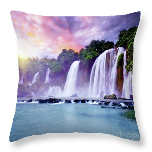 Waterfall Throw Pillow featuring the photograph Banyue Waterfall by MotHaiBaPhoto Prints