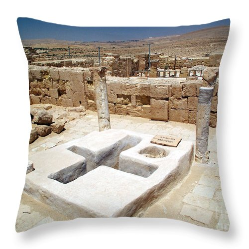 Baptistery Throw Pillow featuring the photograph Baptistery Eastern Church Mamshit Israel by Avi Horovitz