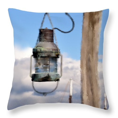 Bar Harbor Throw Pillow featuring the photograph Bar Harbor Lantern by Betty LaRue