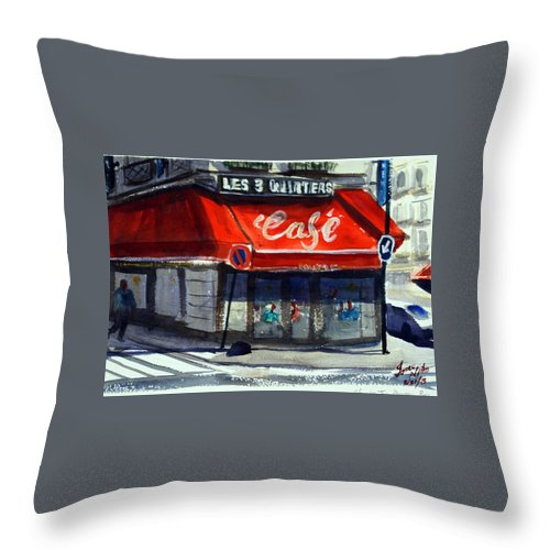 Cafe Throw Pillow featuring the painting Bar Les 3 Quartiers by James Nyika