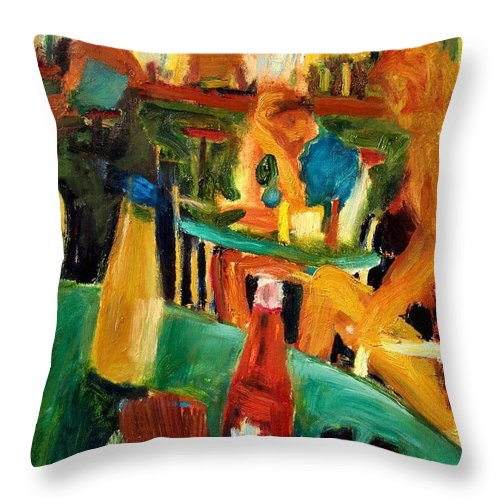 Dornberg Throw Pillow featuring the painting Bar Tables On Deck by Bob Dornberg