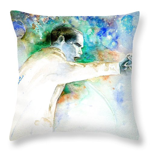 Portrait Barack Obama Throw Pillow featuring the painting Barack Obama Pointing At You by Miki De Goodaboom