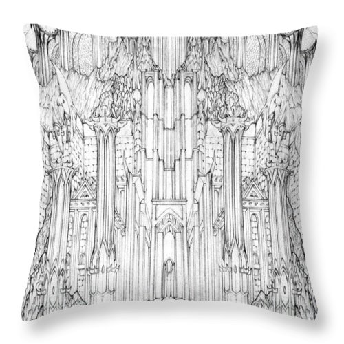 Barad-dur Throw Pillow featuring the drawing Barad-Dur Gate Study by Curtiss Shaffer