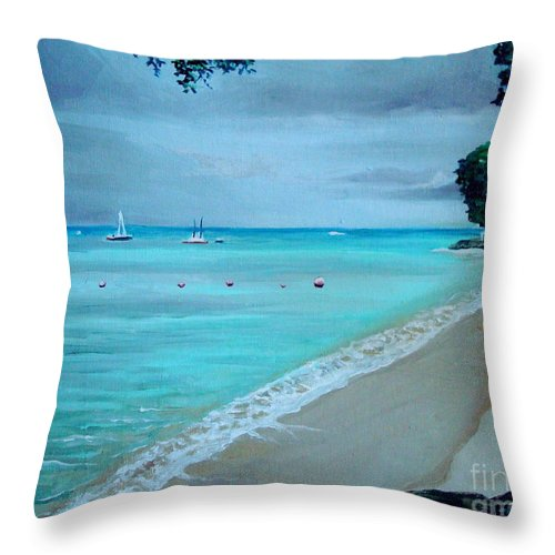 Landscape Throw Pillow featuring the painting Barbados by Elizabeth Robinette Tyndall