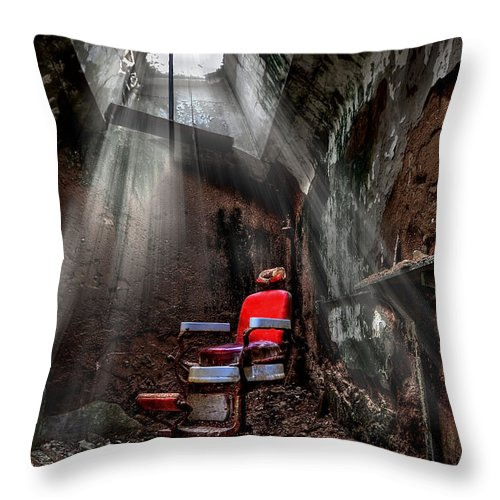 Abandoned Throw Pillow featuring the photograph Barber Shop by Evelina Kremsdorf