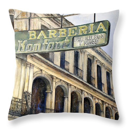 Konfort Barberia Old Havana Cuba Oil Painting Art Urban Cityscape Throw Pillow featuring the painting Barberia Konfort by Tomas Castano