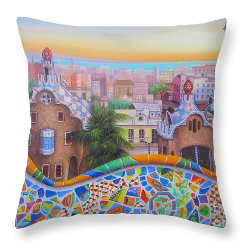 Cityscape Throw Pillow featuring the painting Barcelona 2 by Elena Yalcin