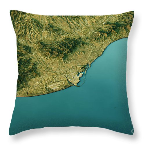 Barcelona Throw Pillow featuring the digital art Barcelona 3D Landscape View South-North Natural Color by Frank Ramspott