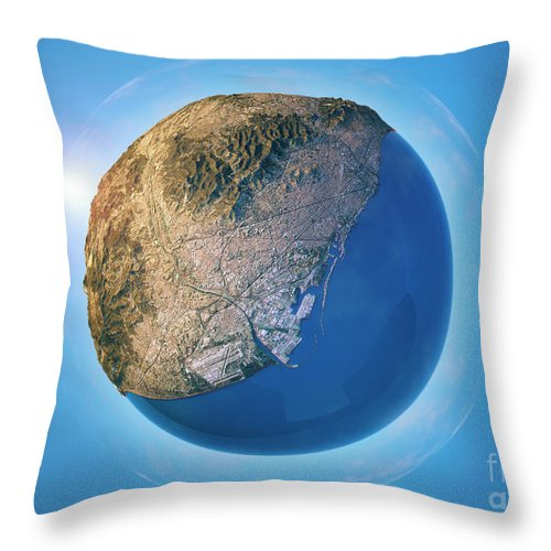 Barcelona Throw Pillow featuring the digital art Barcelona 3D Little Planet 360-Degree Sphere Panorama by Frank Ramspott