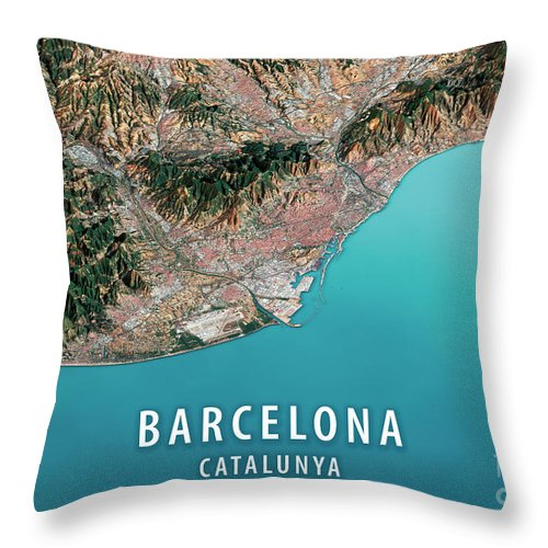 Barcelona Throw Pillow featuring the digital art Barcelona 3D Render Satellite View Topographic Map Horizontal by Frank Ramspott