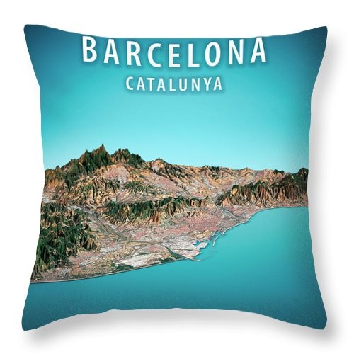 Barcelona Throw Pillow featuring the digital art Barcelona 3D Render Satellite View Topographic Map Vertical by Frank Ramspott