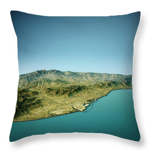 Barcelona Throw Pillow featuring the digital art Barcelona 3D View South-North Natural Color by Frank Ramspott