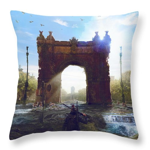 Sciencie Fiction Throw Pillow featuring the painting Barcelona Aftermath Arc De Triomf by Guillem H Pongiluppi