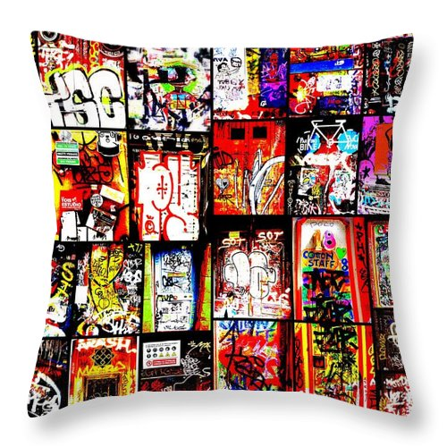 Landscape Throw Pillow featuring the photograph Barcelona Doors by Funkpix Photo Hunter